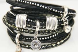 Leren wikkelarmband zwart met zilver diverse bandjes