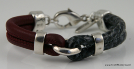 Leren armband bordeaux en zwart/grijs, maat S