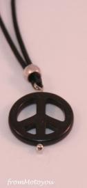 Handgemaakte ketting jongen leer met bedel peace