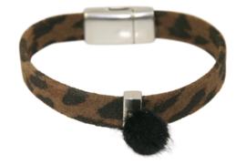 Armband luipaardprint bruin met magneetsluiting