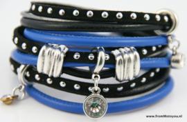 Handgemaakte leren armband kobaltblauw en zwart leer diverse bandjes