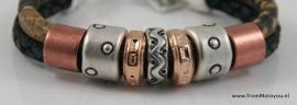 Handgemaakte dames armband zwart/bruin snake leer en zwart snake leer