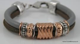 Handgemaakte dames armband grijs en taupe leer
