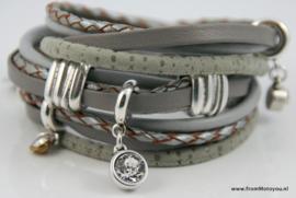 Handgemaakte leren armband grijs grijsgroen leer diverse bandjes