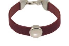 Leren meisjes armband paars leer met ronde schuiver