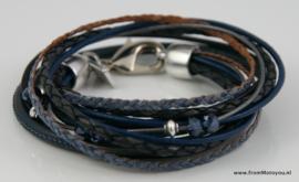 Leren wikkelarmband donkerblauwe combinatie