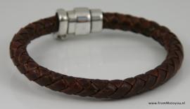 Handgemaakte leren heren armband bruin leer met magneet