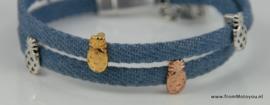 Leren wikkelarmband jeans met metalen schuivers ananas