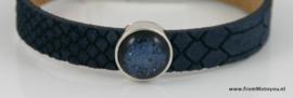 Leren armband donkerblauw met metalen schuiver en polaris