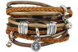 Handgemaakte leren armband brons en okerkleurig diverse bandjes