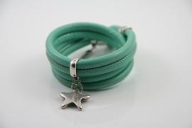 Stars on Colourz mint groen leren armband met ster bedel