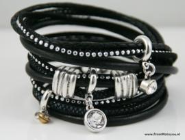 Handgemaakte leren armband zwart leer met glinster