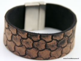 Handgemaakte leren heren armband breed vintage bruin motief