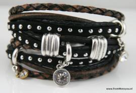 Handgemaakte leren armband zwart bruin leer diverse bandjes