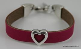 Handgemaakte leren meisjes armband fuchsia leer met hart