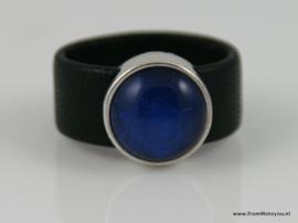 Leren ring zwart met blauw