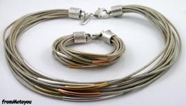 Handgemaakte ketting en armband set zilvergrijs leer met buisjes