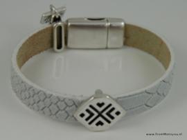 Leren armband wit met metalen schuiver