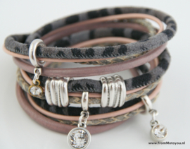 Handgemaakte leren armband roze en grijs diverse bandjes