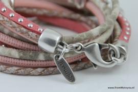 Handgemaakte leren armband roze/wit leer diverse bandjes