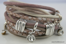 Handgemaakte leren armband oud roze met wit diverse bandjes