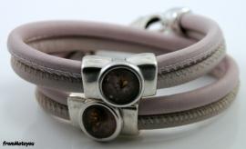 Handgemaakte leren armband licht roze