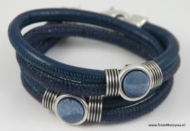 Handgemaakte leren armband blauw snake en blauw leer