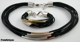 Handgemaakte ketting en armband set zwart leer met metaal