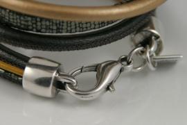 Handgemaakte leren armband groen, brons en okergeel diverse bandjes