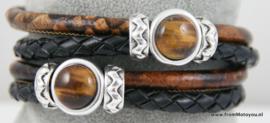 Handgemaakte leren armband zwart en zwart bruin leer