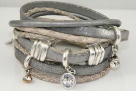 Leren wikkelarmband grijs met zilvergrijs diverse bandjes