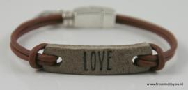 Leren armbandje bruin love