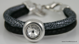 Handgemaakte dames armband zwart zilver leer met swarovski