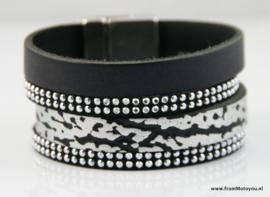 Magneetaarmband zwart en zilver leer, maat M