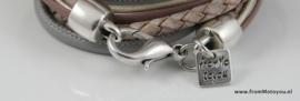 Handgemaakte leren armband oud roze met grijs diverse bandjes