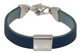 Leren jongens armband blauw leer met metalen schuiver