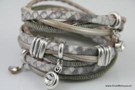 Handgemaakte leren armband brons/olijfgroen leer diverse bandjes