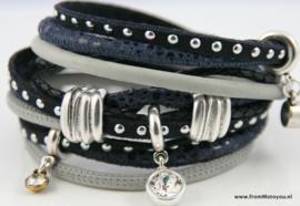 Handgemaakte leren armband blauw en grijs leer diverse bandjes