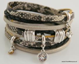 Handgemaakte leren armband brons zwart en geel diverse bandjes