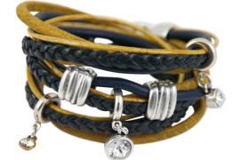 Handgemaakte leren armband donkerblauw en okergeel diverse bandjes