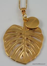 Ketting ball chain met monstera blad goud kleur