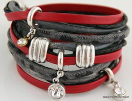 Handgemaakte leren armband rood zwart grijs leer diverse bandjes