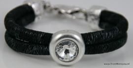 Handgemaakte dames armband zwart wit leer met swarovski