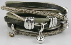 Handgemaakte leren armband groen beige leer diverse bandjes