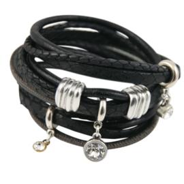 Leren wikkelarmband zwarte bandjes met hangers
