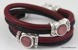 Handgemaakte leren armband zwart snake en bordeaux rood leer, maat M