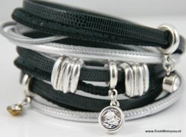 Handgemaakte leren armband zwart en zilver leer diverse bandjes