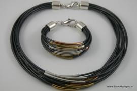 Handgemaakte ketting en armband set donkergrijs leer met metaal