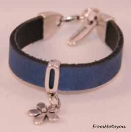 Handgemaakte leren meisjes armband jeansblauw leer