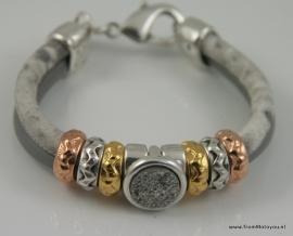Handgemaakte dames armband grijs en grijs/wit snake leer